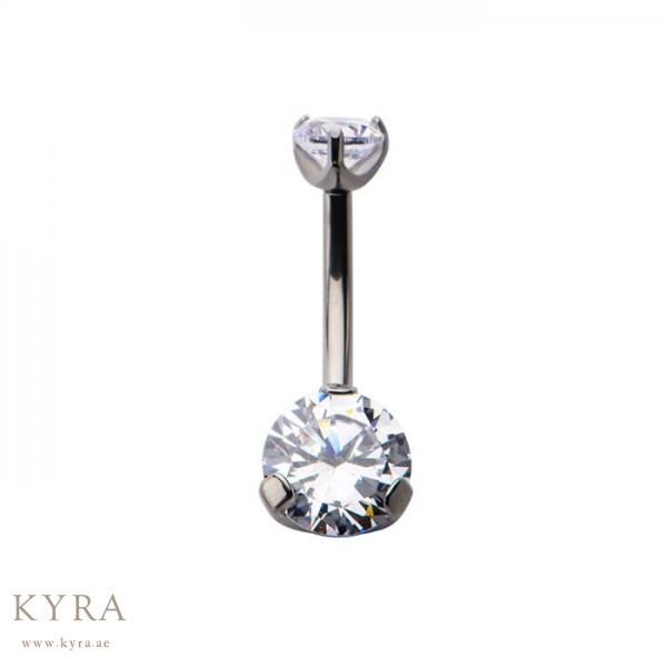 Banana Barbell With Crystal Clear Belly Ring In Titanium
