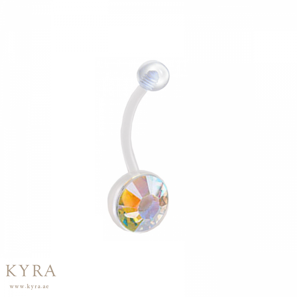 Ptfe Flexible Banana Belly Bar With Ab Crystal