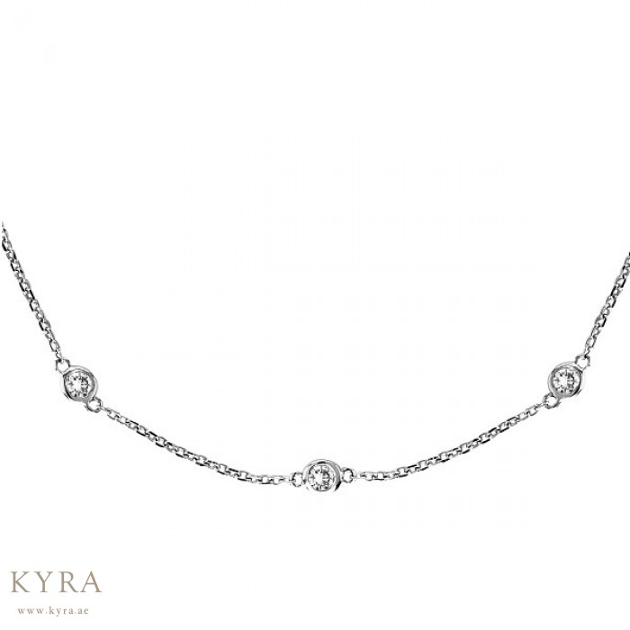18K White Gold Chain with 10 Bezel Set Diamonds