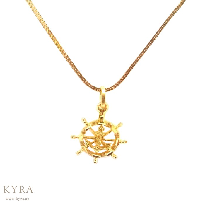 Helm with anchor pendant in 22k yellow gold back aloadofball Images