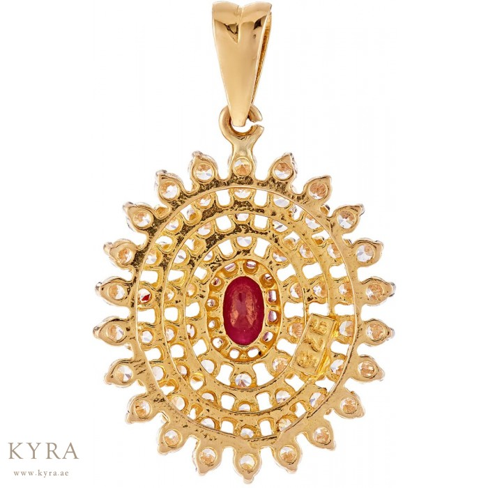 Cz pendant with ruby stone in 22k yellow gold how to order aloadofball Images