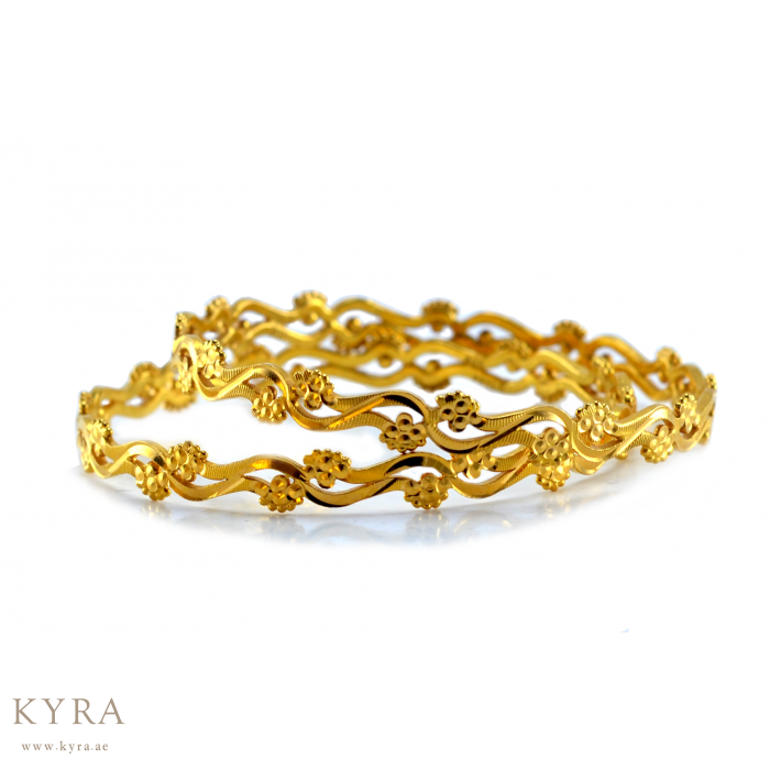 with Flower Bangles in 22K Gold