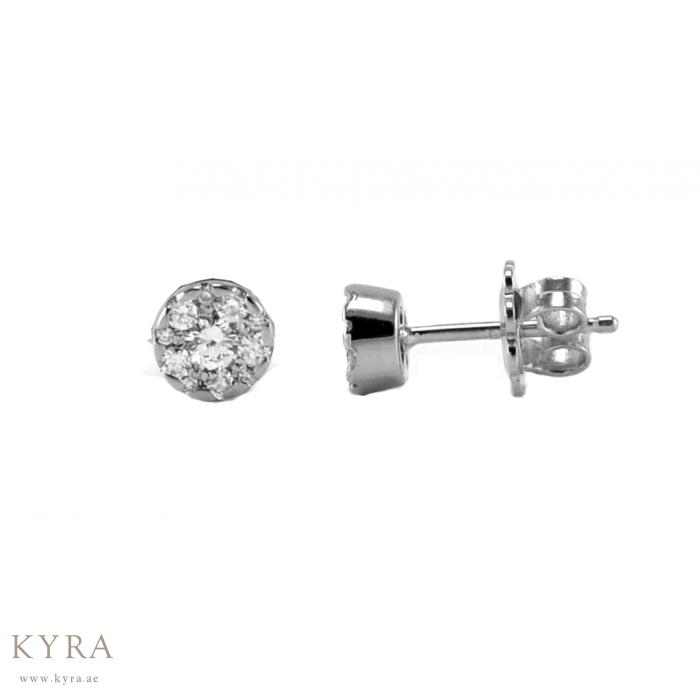 Diamond Earring Stud in White Gold