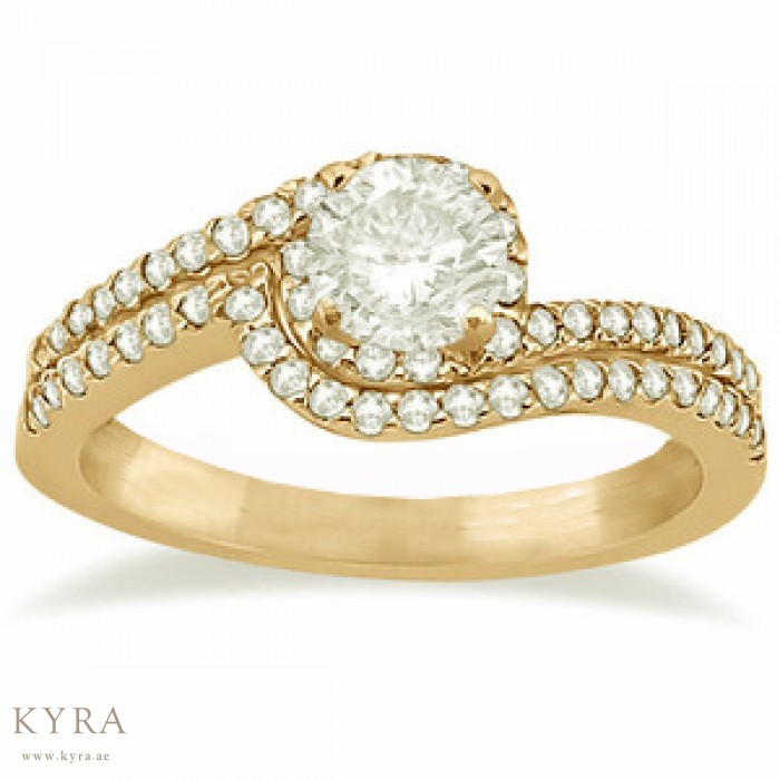 Halo Pave Diamond Engagement Ring in 18K Yellow Gold