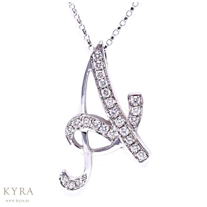 A alphabet diamond pendant in 18k white gold a alphabet diamond pendant mozeypictures Choice Image