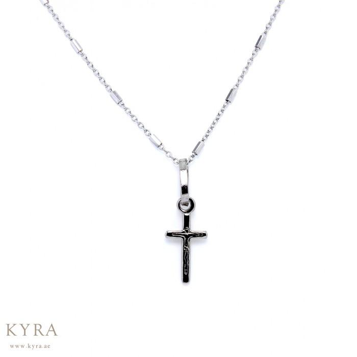 18k white gold small cross pendant aloadofball Image collections