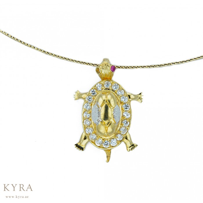 Yellow gold turtle pendant with cz 18k yellow gold turtle pendant with cz aloadofball Choice Image