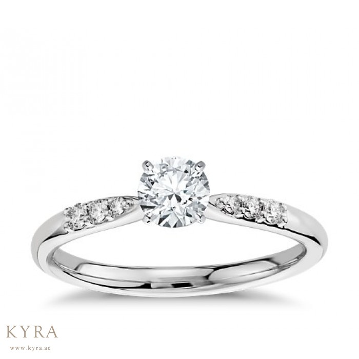 ring cut engagement rings stone view diamond tapered round side tappered