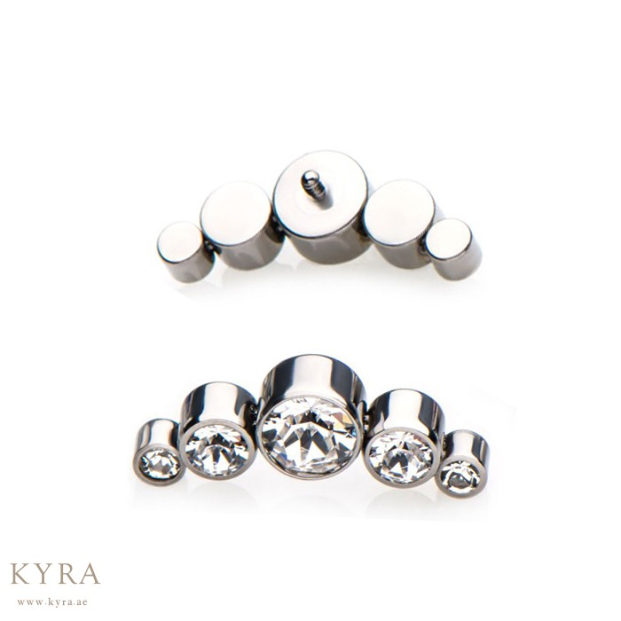 performance sportswear vast selection low price Implant Grade Titanium Labret Top Replacement Crystal with 5 ...