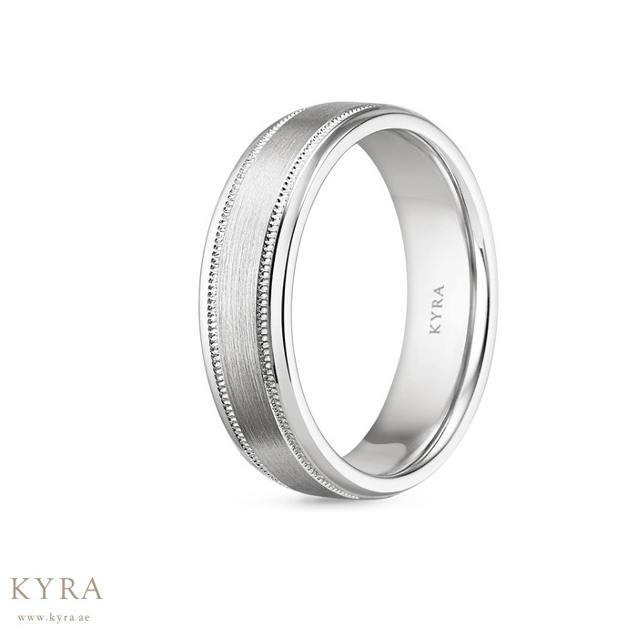 matte platinum in white untitled wedding milgrain double finish gold bands band