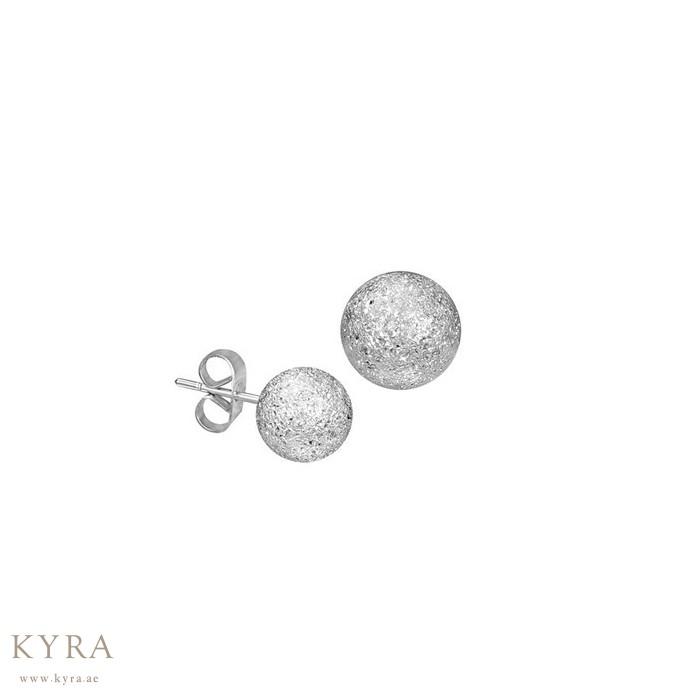18k White Gold Stardust Sandblasted Bead Ball Stud Earrings 6mm