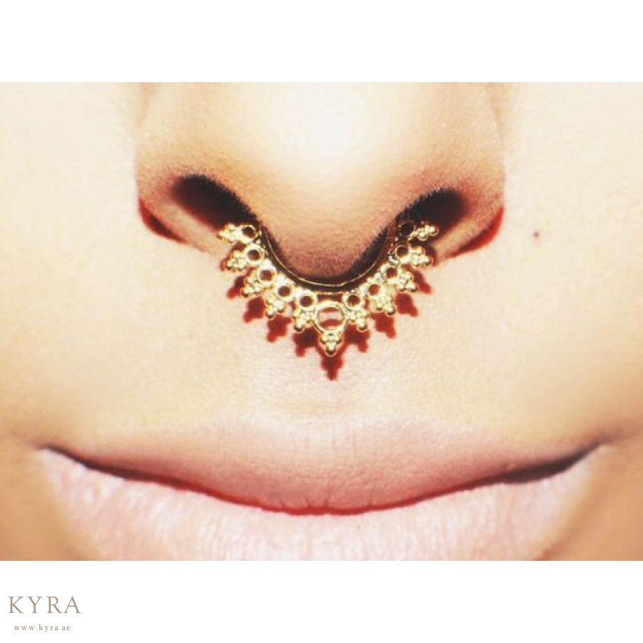 Non Pierced Clip On Septum Ring Yellow Gold Plated