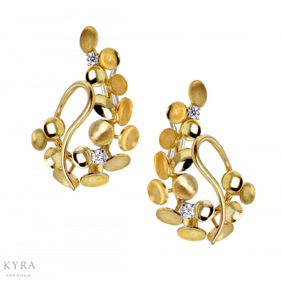 18k Two Tone Gold Petal Earrings