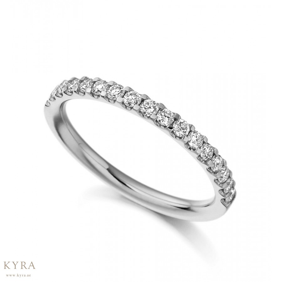 French Cut Half Eternity Diamond Ring In 18k White Gold 2mm Wide
