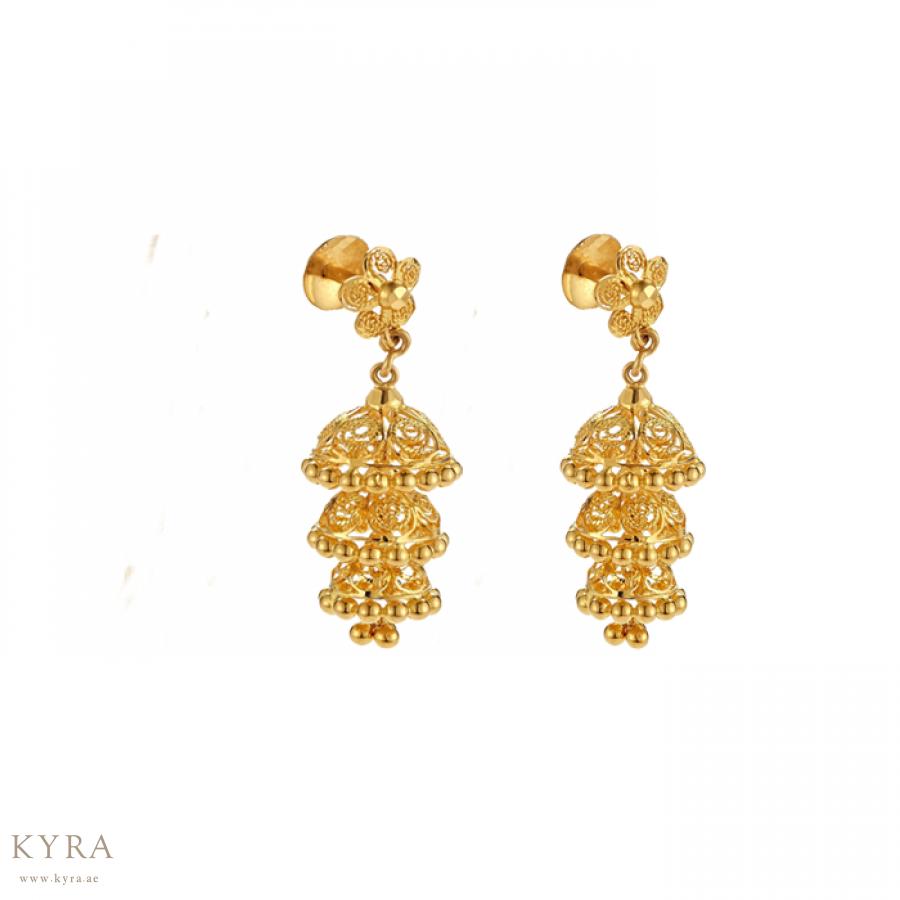 Jhumka Earring In 22k Yellow Gold