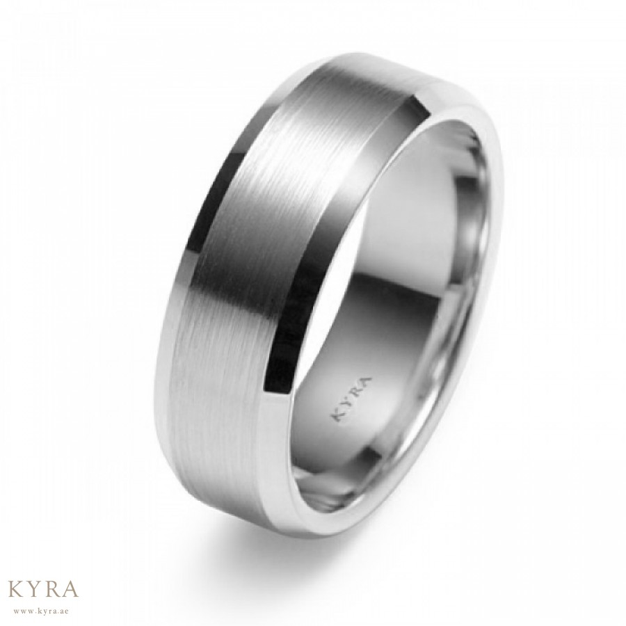 98ed614f4340f Matte Finish Mens Wedding Band in 18K White Gold 6.5mm
