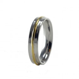18k two tone wedding band 38mm wide - Couples Wedding Rings