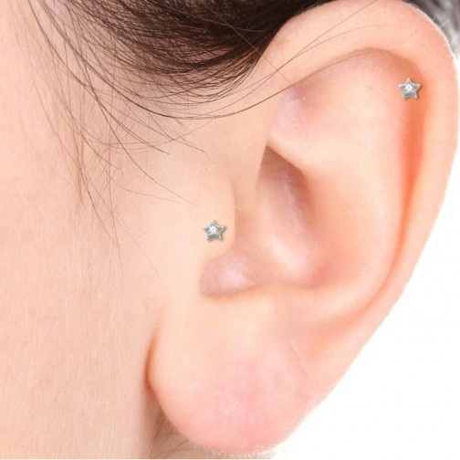 c420d67c2 quick view · Star Threaded Stud in 18K White Gold