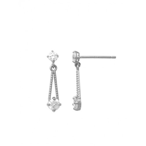 8d8625747 18K White Gold Dangling CZ Earring with Chain