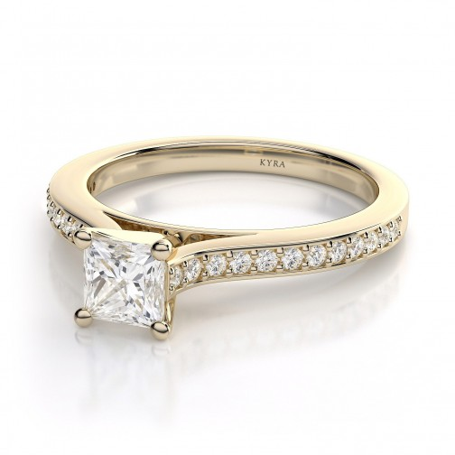 Princess Cut Pave Diamond Engagement Ring in Yellow Gold 45b326a9089e